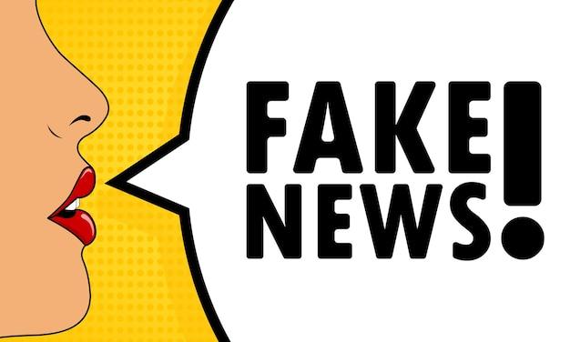 Noticias falsas. boca femenina con lápiz labial rojo gritando. bocadillo de diálogo con texto noticias falsas. estilo comic retro. puede utilizarse para negocios, marketing y publicidad. eps vectoriales 10.