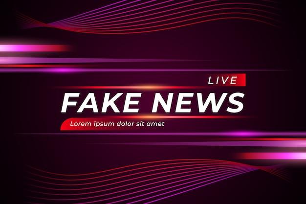 Noticias falsas en vivo sobre fondo violeta con curvas