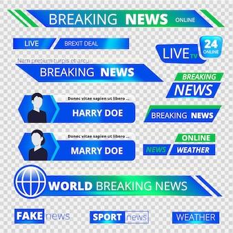 Noticias gráficas pancartas. rompiendo la transmisión de televisión deporte encabezado banners gráfico vectorial