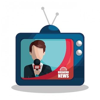 Noticias en una ilustración de tv