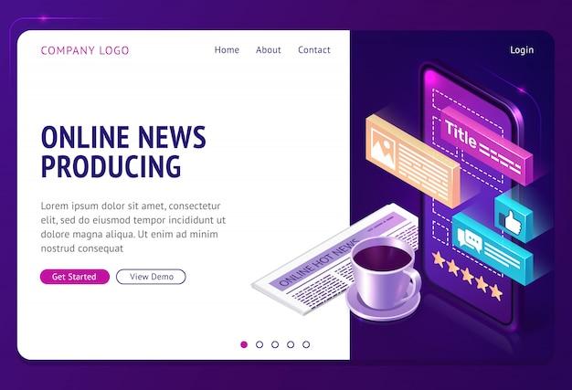 Noticias en línea que producen la página web de aterrizaje isométrico