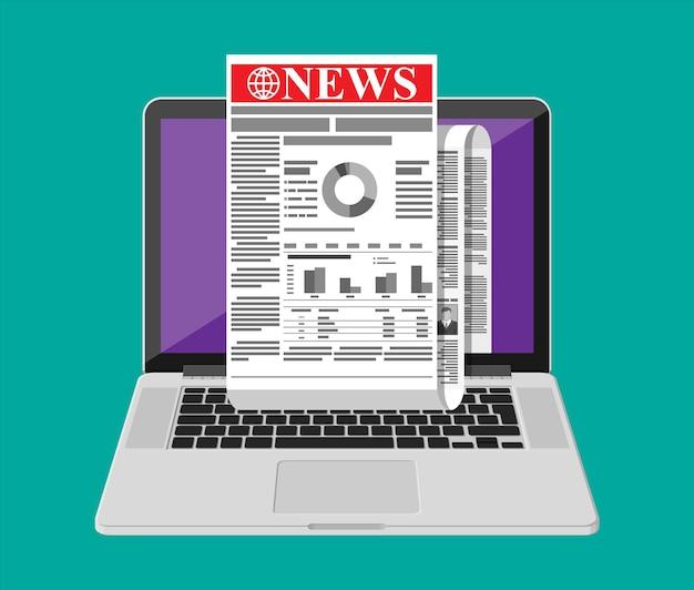 Noticias de negocios en la pantalla de la computadora portátil. periódico enrollado en internet. rollo de diario de noticias en línea. páginas con varios titulares, imágenes, citas, artículos de texto. estilo plano de ilustración vectorial