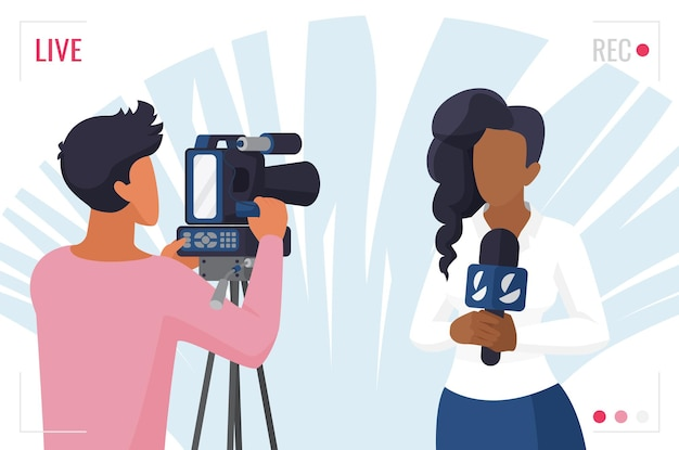 Noticias de televisión periodista, entrevista en video de reportero con cámara, concepto de periodismo