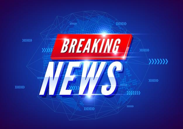 Noticias de última hora. noticias mundiales con fondo de mapa azul.