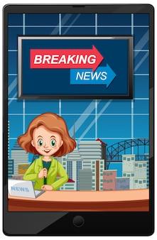 Noticias de última hora en pantallas de tabletas