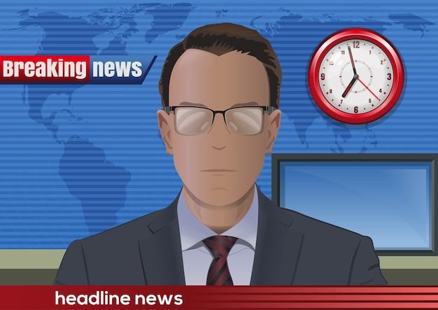 Noticias de última hora. silueta de un hombre con gafas. locutor de noticias en el estudio. ilustración