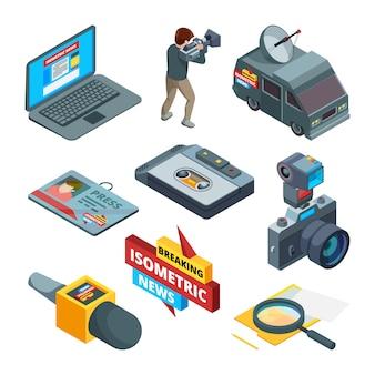 Noticias de última hora símbolos. imágenes isométricas de escritores, camarógrafos y periodistas.