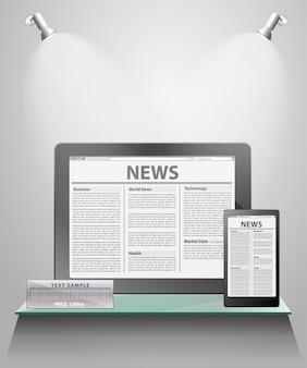 Noticias vectoriales en tableta genérica en estantes