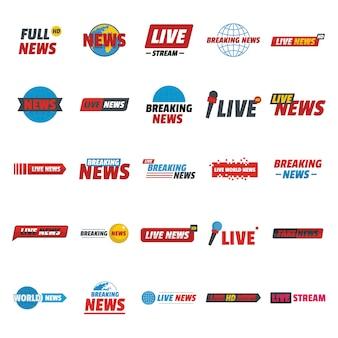 Noticias en vivo rompiendo etiqueta conjunto de iconos