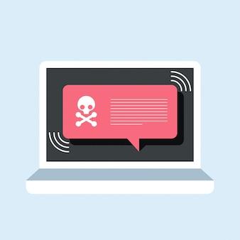 Notificación de alerta en la computadora portátil