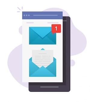 Notificación de aviso de mensaje de correo electrónico nuevo en vector de teléfono móvil