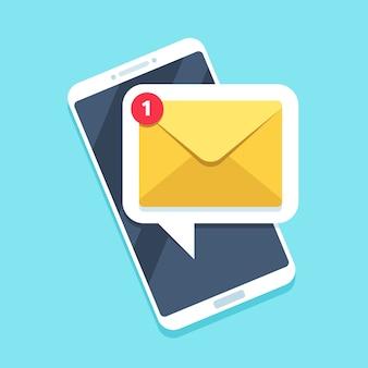 Notificación de correo electrónico plana en el teléfono inteligente