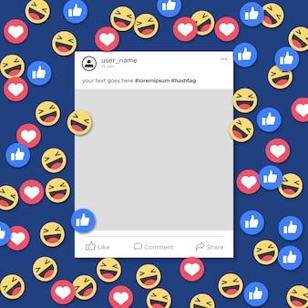 Notificación divertida de la plantilla del marco de los medios sociales