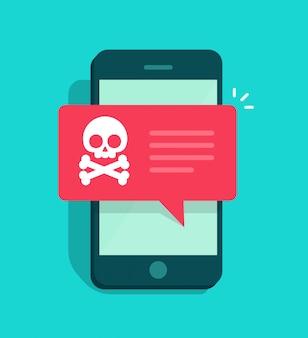 Notificación de malware o mensaje de error de internet fraudulento en un teléfono inteligente o teléfono móvil