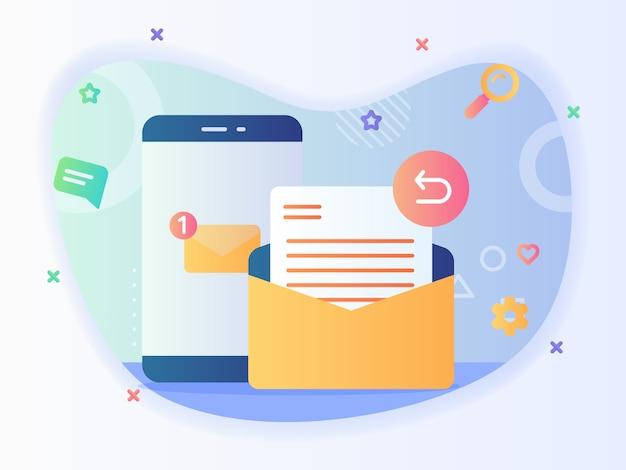 Notificación de mensaje nuevo en la pantalla del teléfono inteligente, concepto de correo electrónico de respuesta, servicio de correo electrónico con diseño vectorial de estilo plano