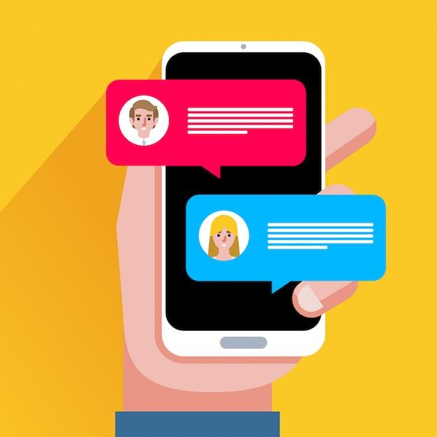 Notificación de mensajes de chat en la ilustración de vector de teléfono inteligente, dibujos animados planos sms burbujas en la pantalla del teléfono móvil