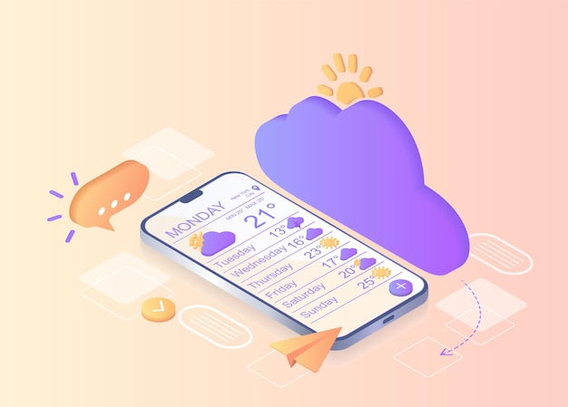 Notificación meteorológica comunicación digital notificación de mensajería instantánea teléfono inteligente móvil