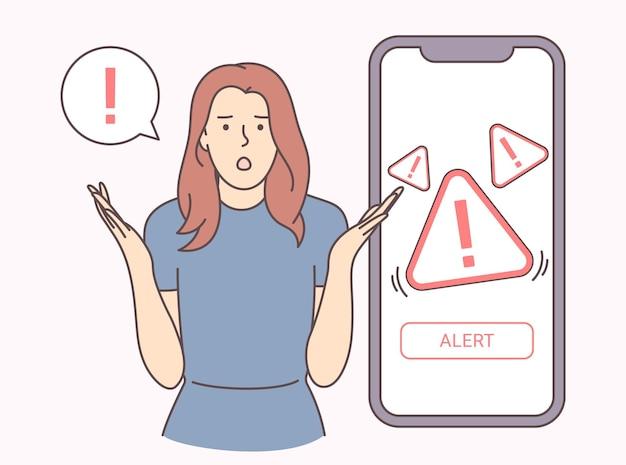 Notificación móvil, advertencia. mujer joven sorprendida por la notificación de alerta. ilustración vectorial plana