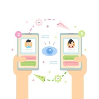 Notificación de nuevos mensajes de chat, redes sociales, noticias, bocadillos