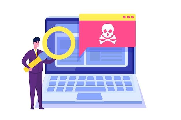 Notificación o alerta de troyano de malware de virus de computadora portátil