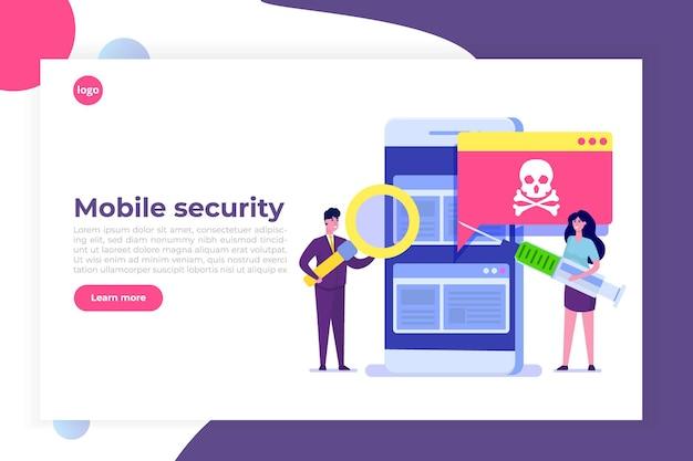Notificación o alerta de troyano de malware de virus de teléfono inteligente