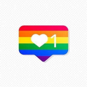 Notificación de redes sociales con bandera de orgullo