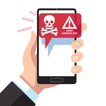 Notificación de virus en la pantalla del teléfono inteligente.