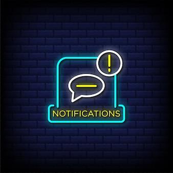 Notificaciones letreros de neón estilo texto