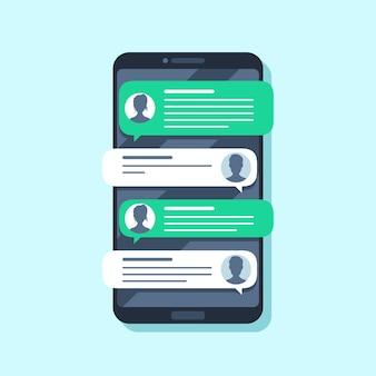 Notificaciones de sms móviles. mensaje de texto de mano en smartphone, personas chateando. ilustración plana de conversión