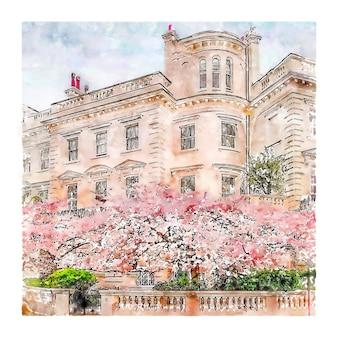 Notting hill london acuarela dibujo dibujado a mano ilustración