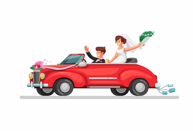 Novia en coche descapotable retro recién casados. símbolo del coche de boda en la ilustración de dibujos animados sobre fondo blanco.