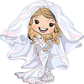 Novia hermosa chica de moda en su vestido de novia