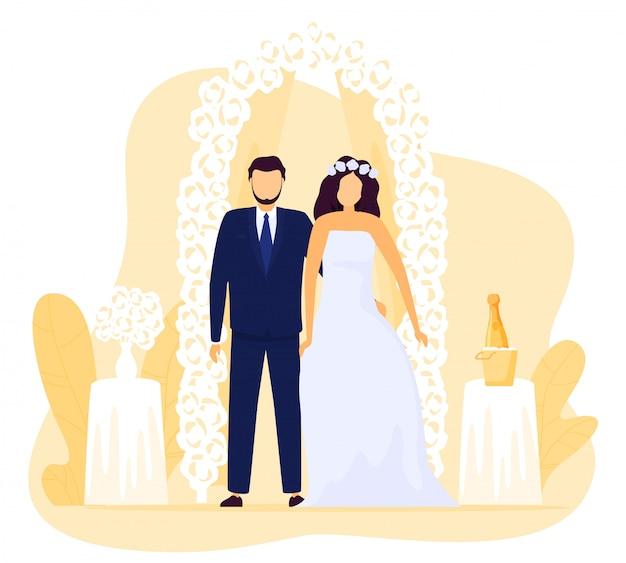 Novia y el novio en la ceremonia de la boda, feliz pareja de recién casados, ilustración
