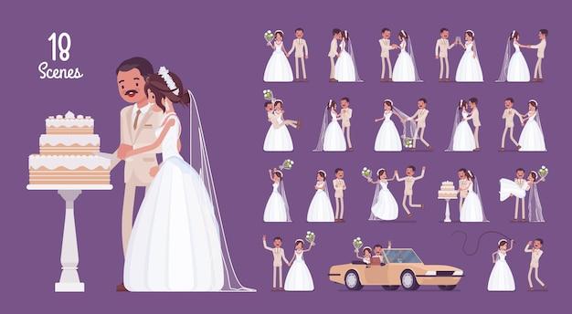 La novia y el novio en el conjunto de caracteres de la ceremonia de la boda
