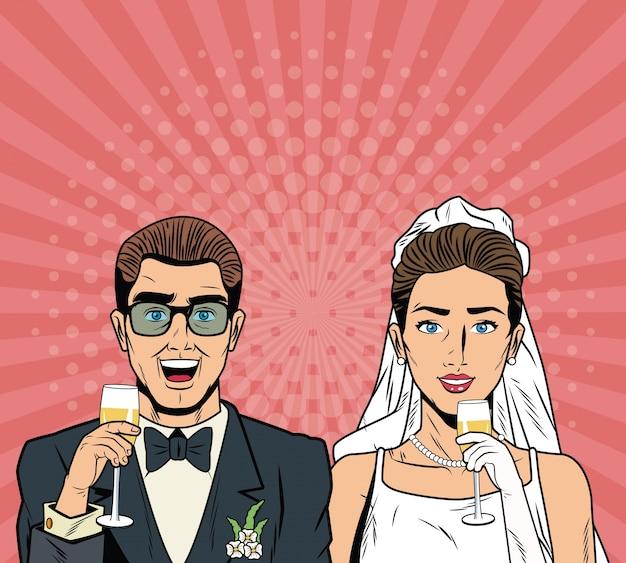 Novia y el novio de dibujos animados de arte pop
