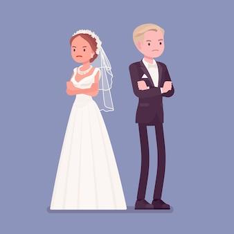 Novia y el novio enojados ofendidos en la ceremonia de la boda
