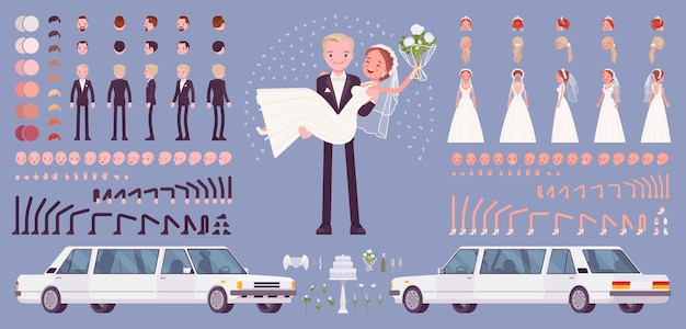 La novia y el novio, feliz pareja joven en una ceremonia de boda, conjunto de creación, kit de celebración tradicional