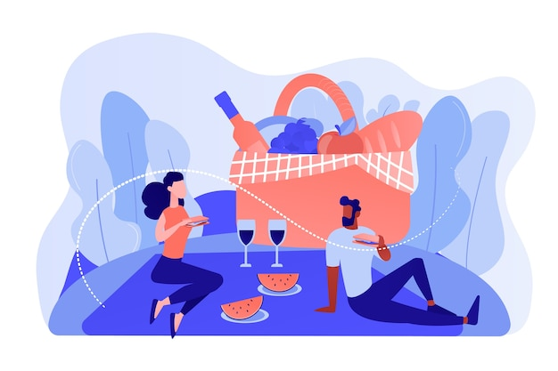 Novia y novio, pareja de enamorados almorzando en la naturaleza. picnic de verano, gasto de tiempo en familia en el parque, concepto de suministros especiales al aire libre. ilustración aislada de bluevector coral rosado