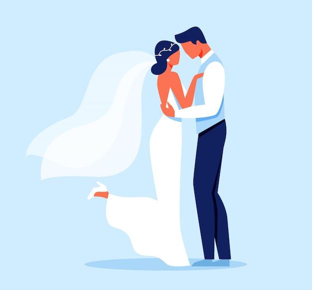 Novia y novio personajes abrazando, día de la boda