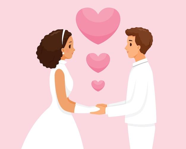 La novia y el novio de piel negra en ropa de boda cogidos de la mano juntos, el día de san valentín