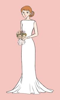 Novia sosteniendo un ramo de flores ilustración simple dibujado a mano