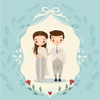 Novia tailandesa y el novio en la tarjeta de invitaciones de boda
