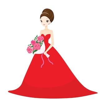 Novia en vestido de novia rojo largo con ramo de flores
