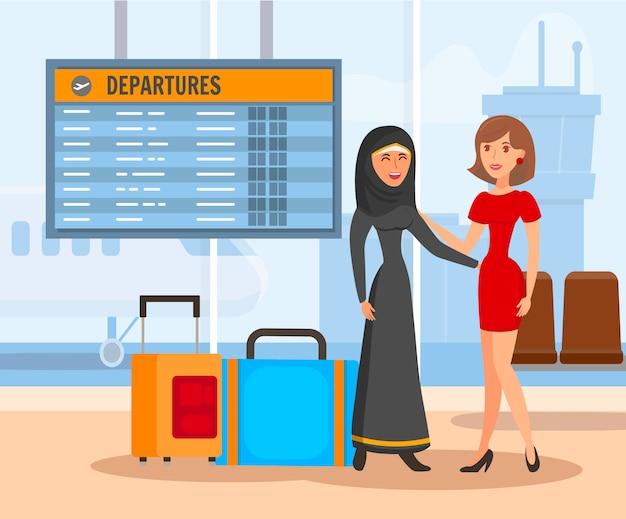 Novias en el aeropuerto ilustración en color plano