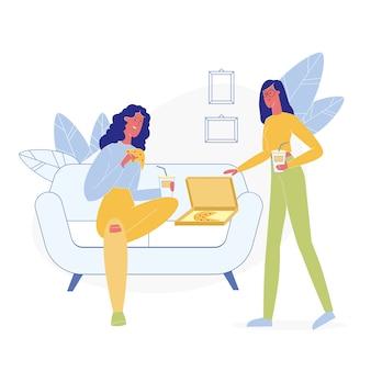 Novias comiendo comida chatarra ilustración plana