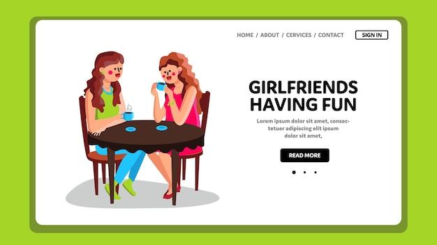 Novias divirtiéndose en la mesa de café