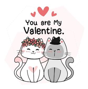 El novio lindo y la novia se casan con la idea del estilo del doodle de la historieta del gato del gatito de la boda para la tarjeta de invitación de la boda