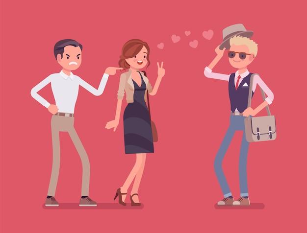 Novio sintiéndose celoso. hombre loco por su novia hablando con otro chico, sufriendo de amor obsesivo, sospechoso, desconfiando de la pareja en la relación. ilustración de dibujos animados de estilo