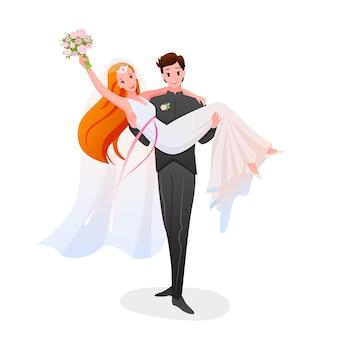 El novio sostiene a la novia en sus manos, pareja feliz. día de la ceremonia nupcial de matrimonio aislado en blanco