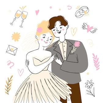 Novios recién casados con novio y novia